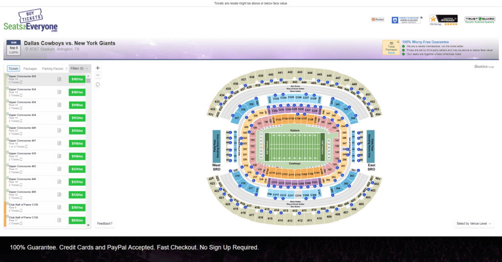 cowboys tailgate tickets